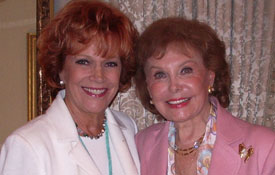 Samantha with Rhonda Fleming Carlson at her birthday party at the Bel Aire Hotel in Hollywood.