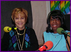 Brenda and Samantha at KKVV Studios doing live broadcast of the Open Book Radio Club