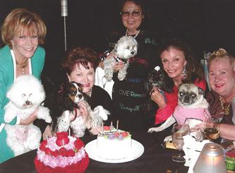 Sir Bentley, Victoria, Little One, Penelope, and Lexie at Spencer's Retaurant in Palm Springs, CA