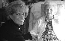 Samantha with Mrs. Ruth Stafford Peale on her 100th birthday at her home in Pawling, NY.