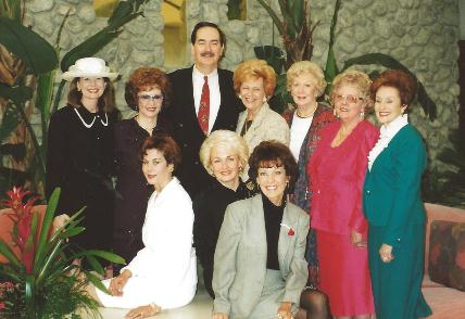 Christian Celebrity Board with Cal Thomas, Fox News, Rancho Mirage, Ca. Front row: Mona Miller, Betty Mann, Jo Oliver-Berg Back row: Gwen Lampman, Beverley Jackson, Cal Thomas, Samantha Landy, Mari Holm, Dorree Sullivan, and Georgeann De Woody